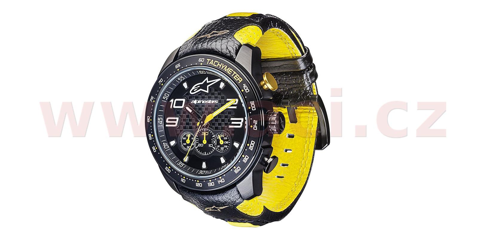 8b6d78b1d hodinky TECH RACE CHRONO, ALPINESTARS (černá/žlutá, kožený pásek) M000-1071  ALPINESTARS